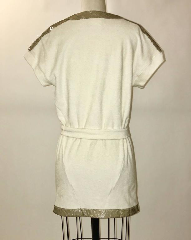 Chanel 09C Mini Terry Cloth Robe Swim or Pool Coverup Perforated CC Logo Trim 2