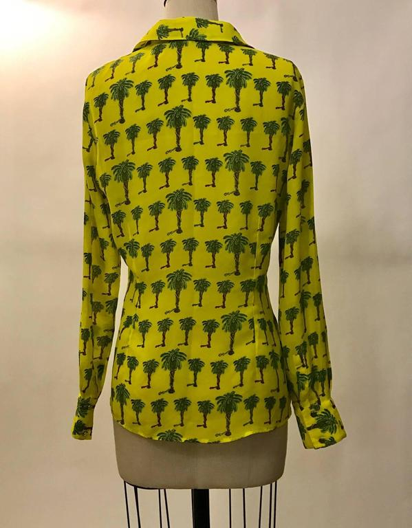 Versace Jeans Couture 1990s Yellow Palm Tree Print Blouse Shirt 2