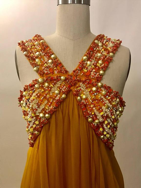 Christian Dior Resort 2009 Runway Marigold Yellow Orange Beaded Chiffon Gown 3