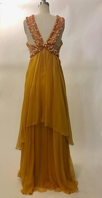 Christian Dior Resort 2009 Runway Marigold Yellow Orange Beaded Chiffon Gown 2