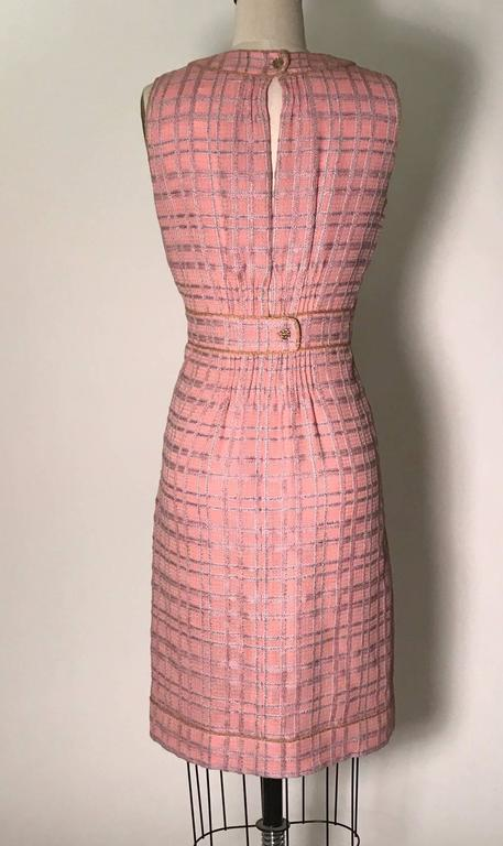 Chanel 2004 Pink And Blue Plaid Tweed Sleeveless Shift