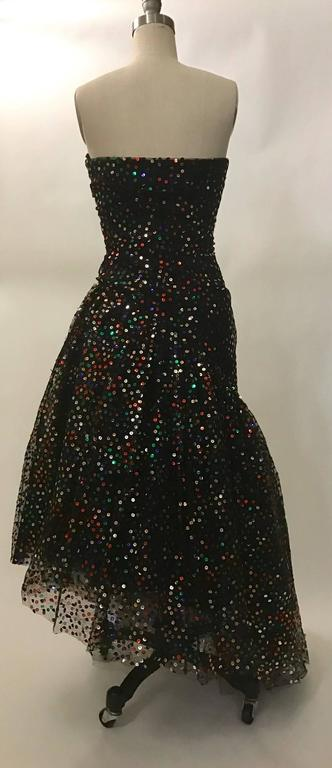 Scaasi Boutique for Bergdorf Goodman Black Strapless Sequin Tulle Gown, 1980s  In Good Condition For Sale In San Francisco, CA