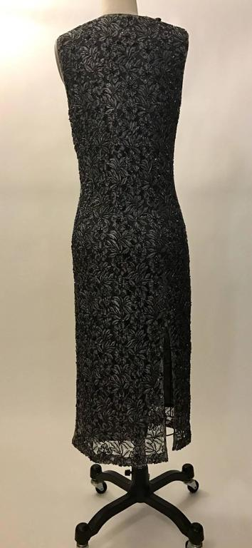 Alexander McQueen 1990s Grey and Black Beaded Lace Midi Dress 2