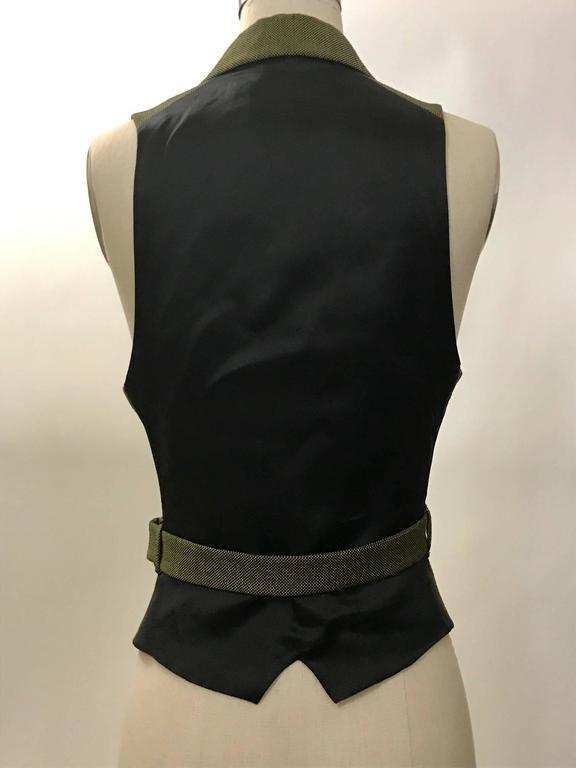 Alexander McQueen 2001 Runway Green and Black Belted Waistcoat Vest 3