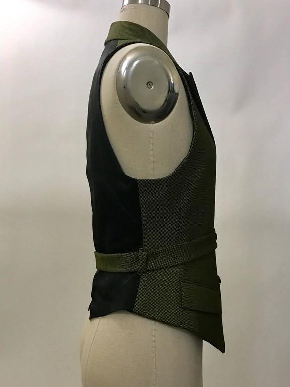 Alexander McQueen 2001 Runway Green and Black Belted Waistcoat Vest 2