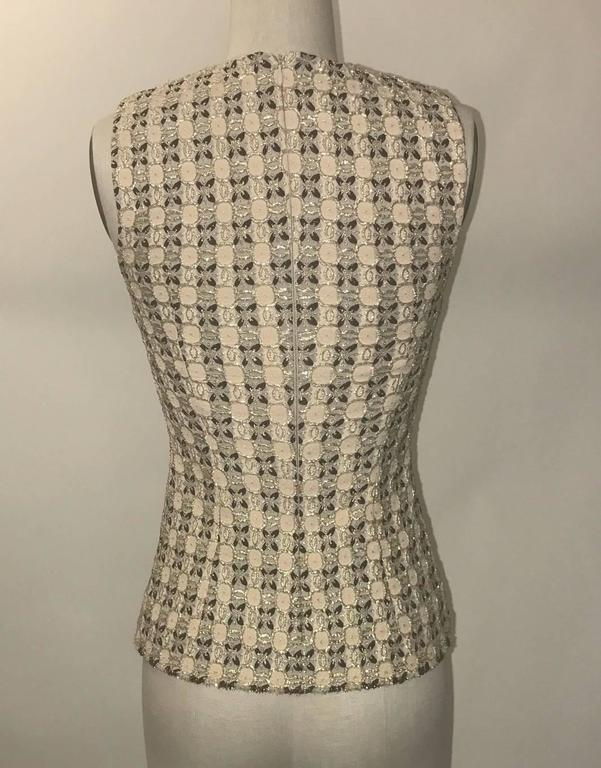 Prada Gold Beige and Pink Patterned Sleeveless Shell Top 2