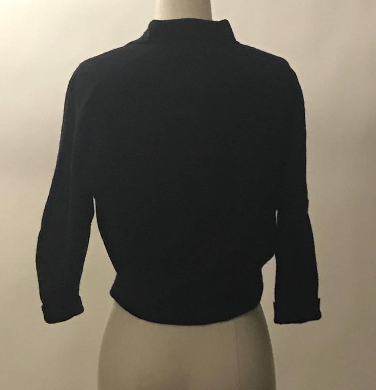 Schiaparelli 1960s Black Flower Button Yellow Floral Appliqué Cardigan Sweater 2