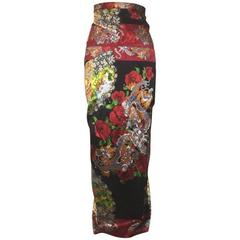 Dolce & Gabbana 1999 Chinese Inspired Dragon and Fan Print Wiggle Maxi Skirt
