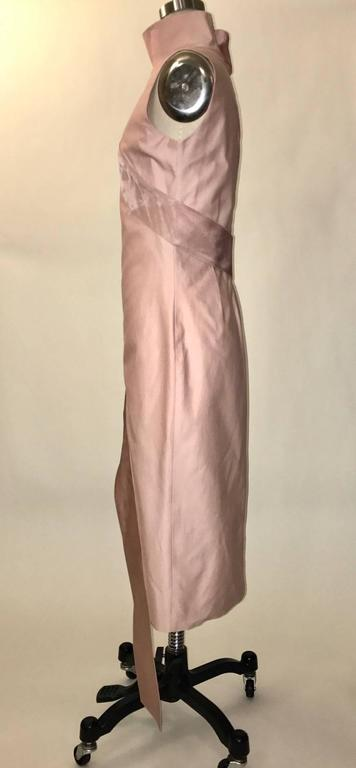 Brown Alexander McQueen 2001 Voss Pink Midi Dress with Ribbon Wrap For Sale