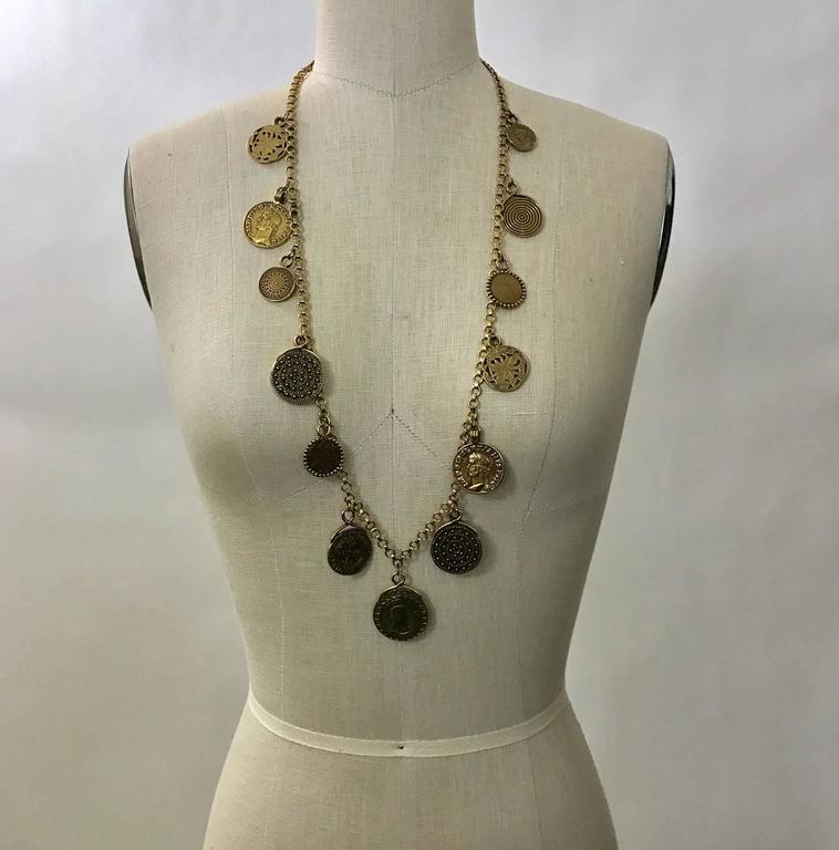 Yves Saint Laurent 1977 Gypsy Coin Medallian Gold Tone Necklace Single Strand 2