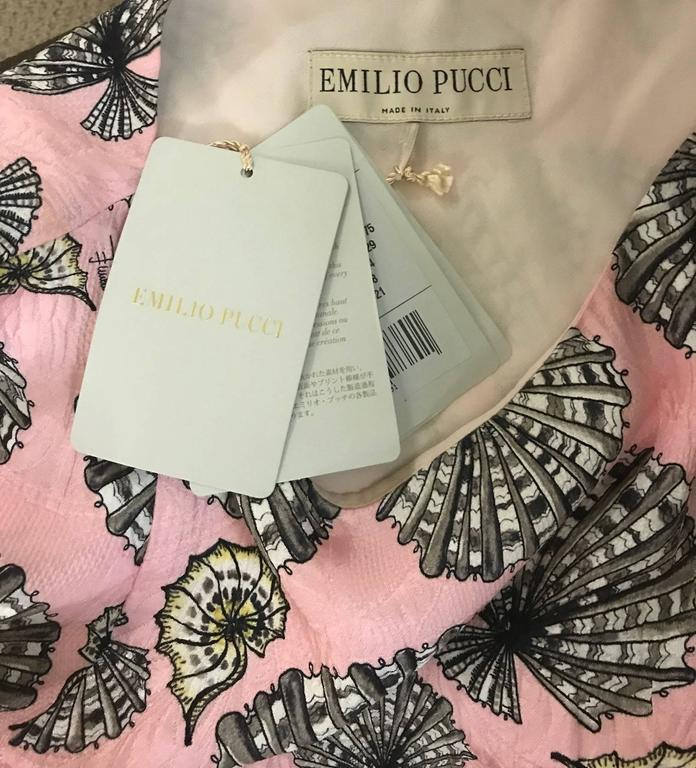 New Emilio Pucci Pink Silk Shell Seashell Print Belted Sleeveless Sun Dress In New Condition For Sale In San Francisco, CA