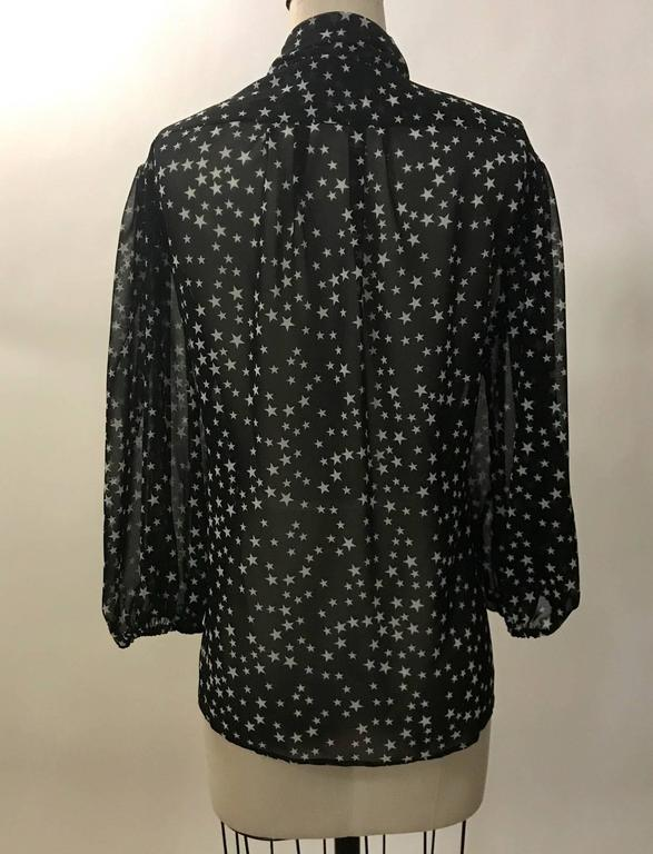 Dolce & Gabbana Black White Star Print Semi Sheer Pussy Bow Blouse In Excellent Condition For Sale In San Francisco, CA