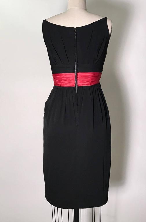 Ceil Chapman 1950s Silk Cocktail Dress with Pink Red Sash Cummerbund 3