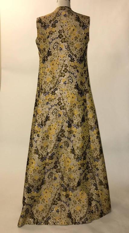 Guy Laroche 1960s Metallic Gold Yellow Floral Print Open Front Long Maxi Vest 2