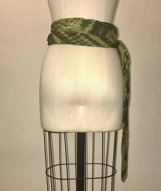 Alexander McQueen Green Silk Scarf Tie Dye Belt  In Excellent Condition For Sale In San Francisco, CA