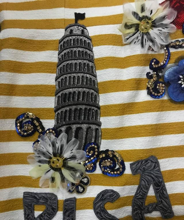 Brown Dolce & Gabbana Yellow and White Striped Tower of Pisa Flared Midi Dress For Sale