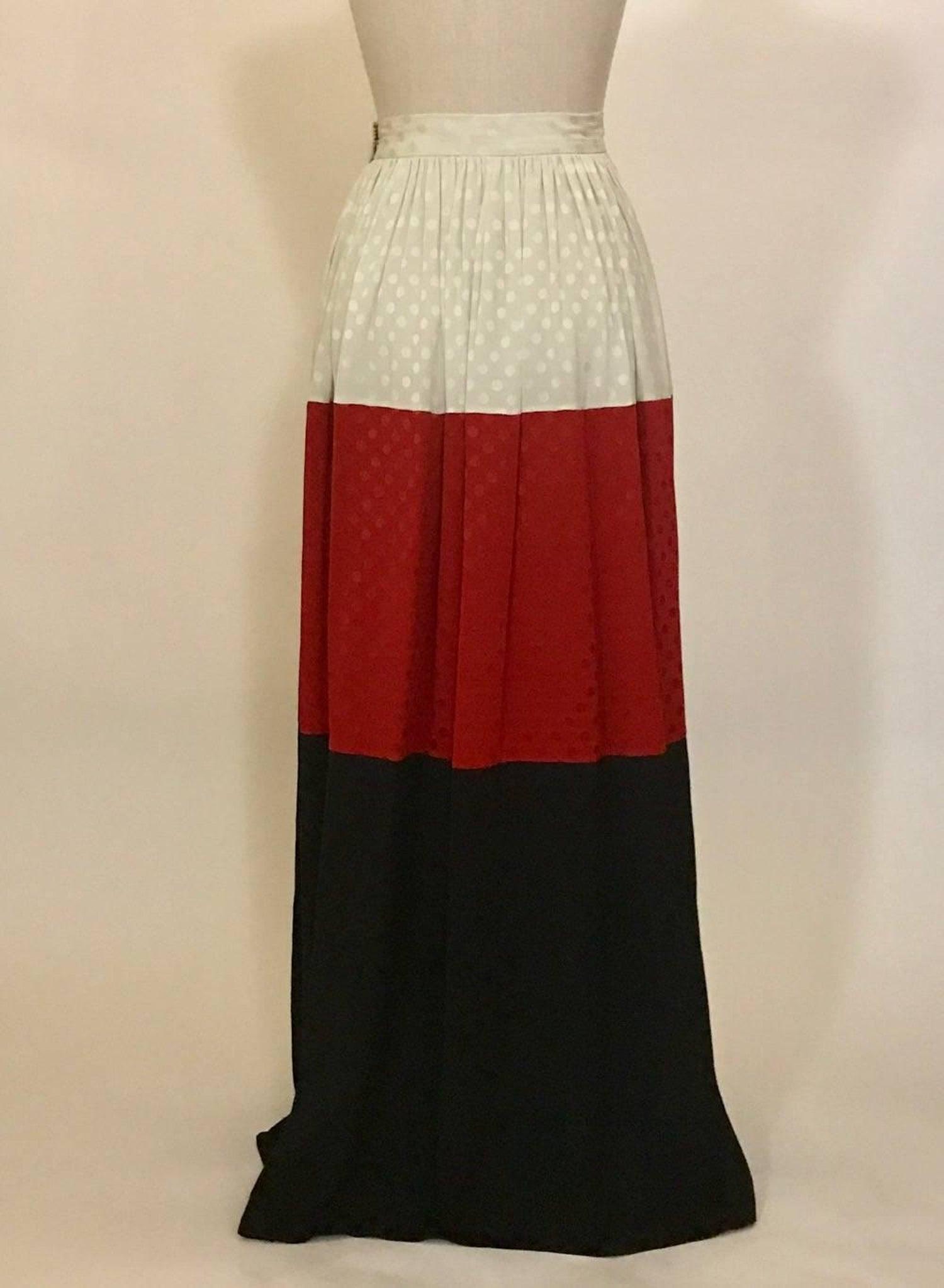 ee7730e11 Michaele Vollbracht Red Black White Silk Color Block Polka dot Maxi Skirt,  1980s For Sale at 1stdibs