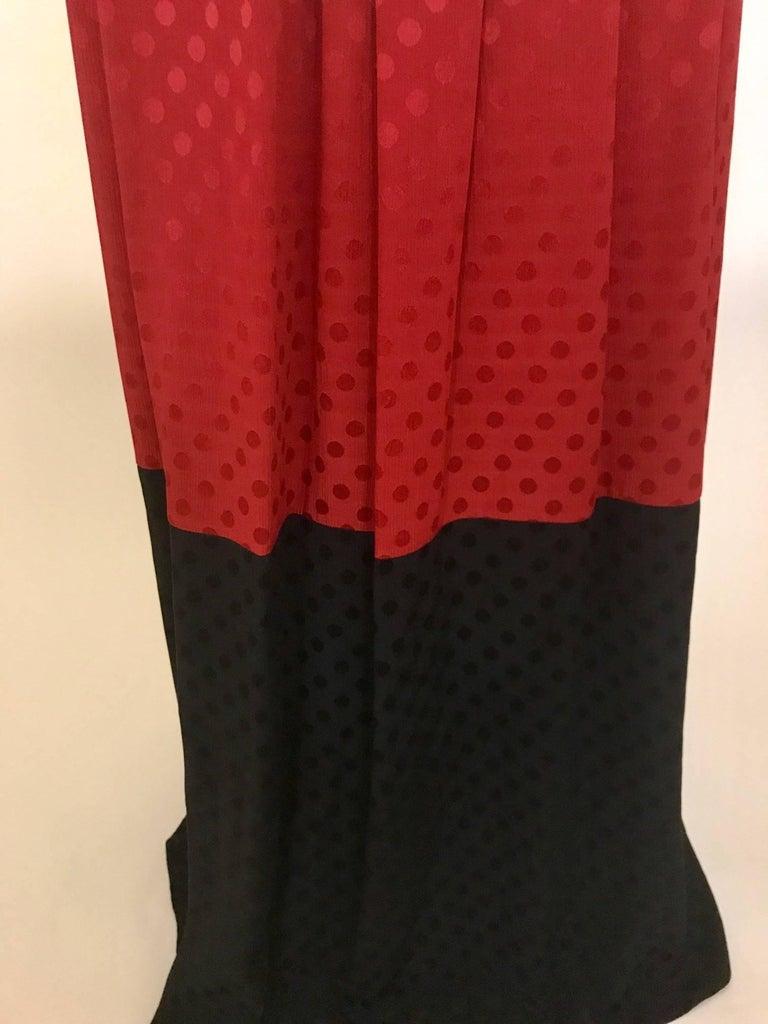 a955eabee Michaele Vollbracht Red Black White Silk Color Block Polka dot Maxi Skirt,  1980s In Good