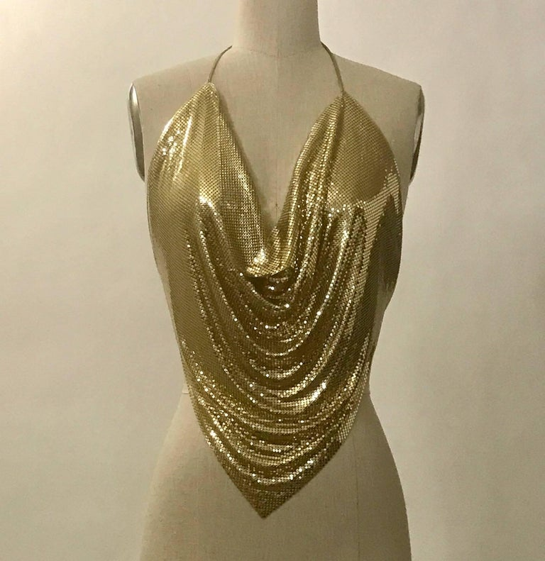 dfe9cafd612c2 Vintage 1970s gold metal mesh halter top with gold leather string ties at  neck and back