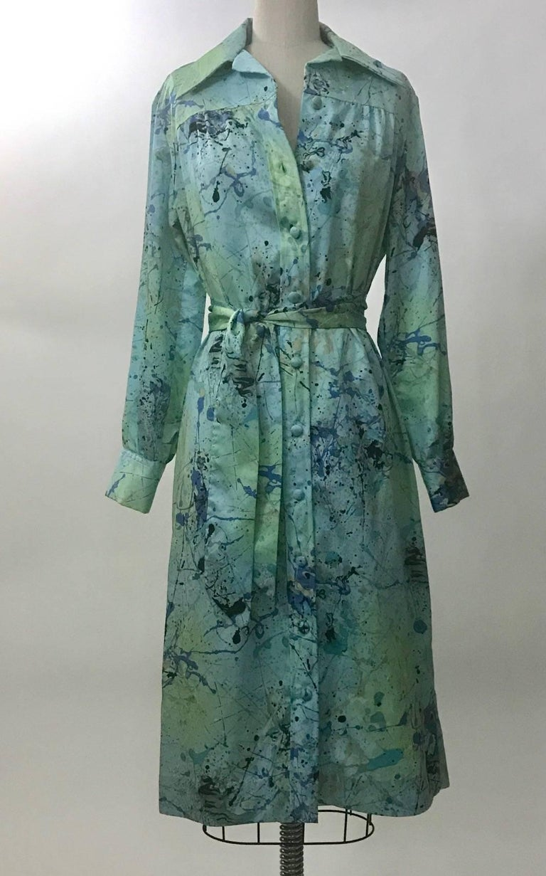 Lanvin 1960s Robin's Egg Blue Splatter Paint Belted Shirt Dress 2