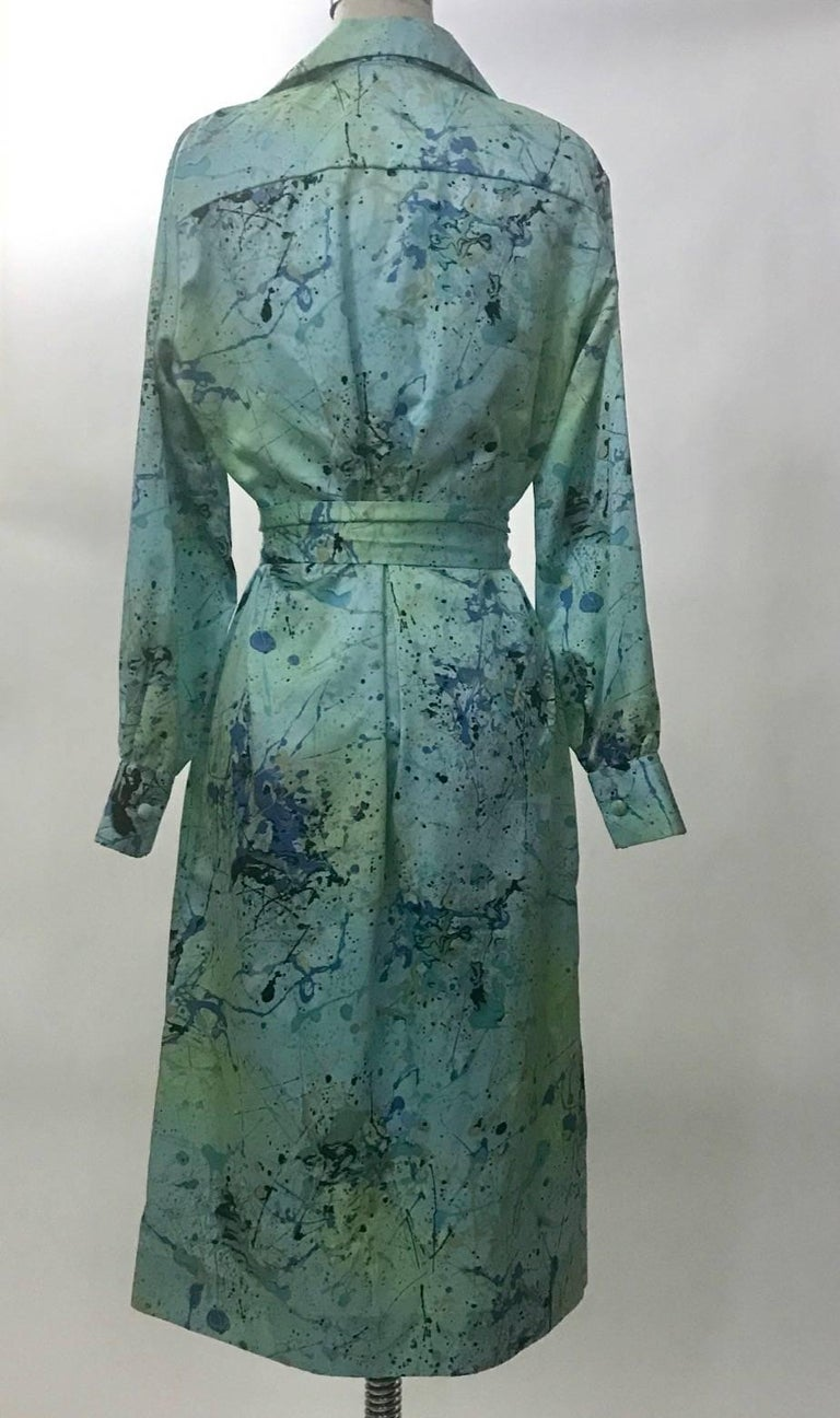 Lanvin 1960s Robin's Egg Blue Splatter Paint Belted Shirt Dress 3
