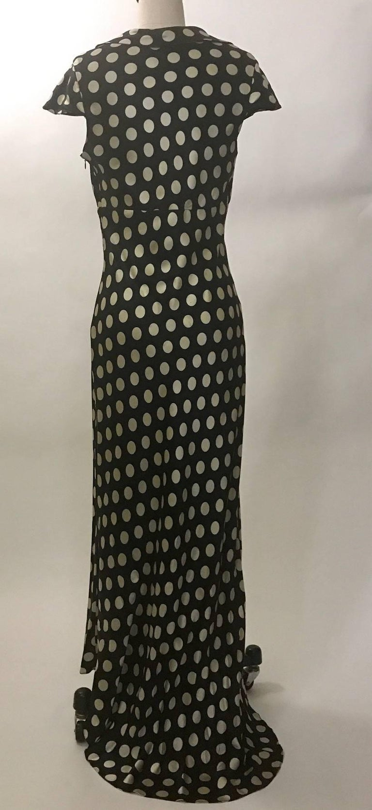 Moschino Couture! 1980s Black and White Silk Polka Dot Long Maxi Dress  2