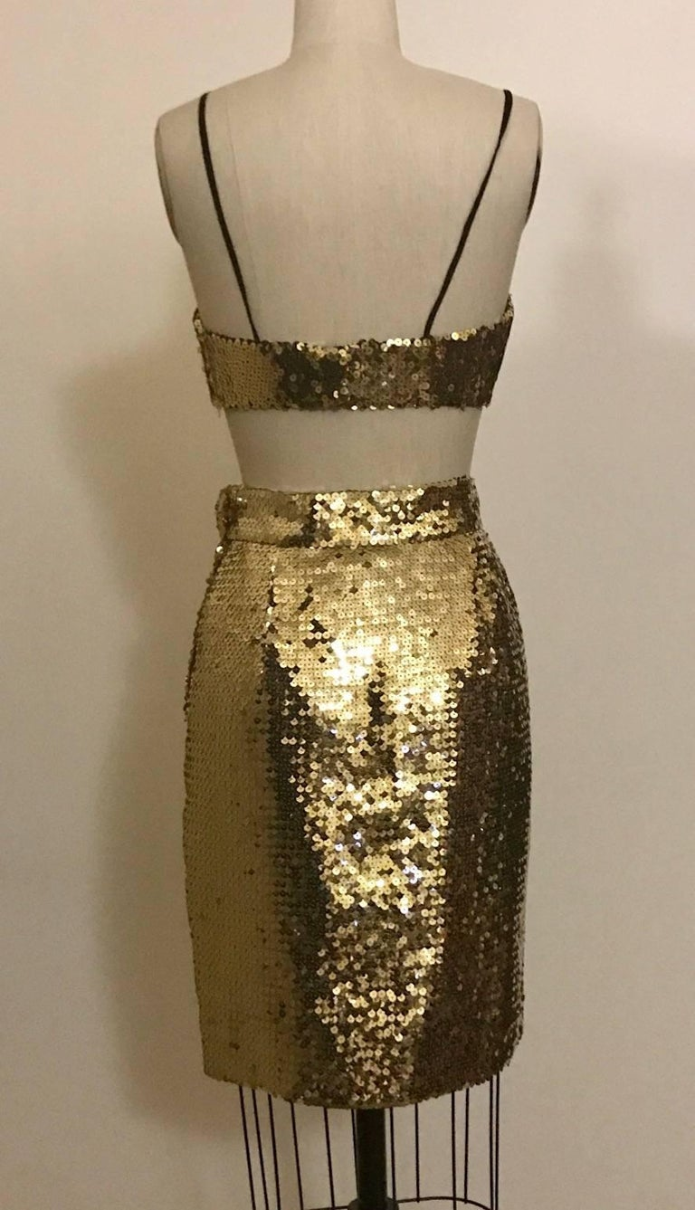 Brown Moschino Couture Gold Sequin Cropped Bustier and Skirt Set, 1990s For Sale
