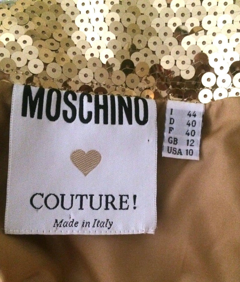 Moschino Couture Gold Sequin Cropped Bustier and Skirt Set, 1990s For Sale 2