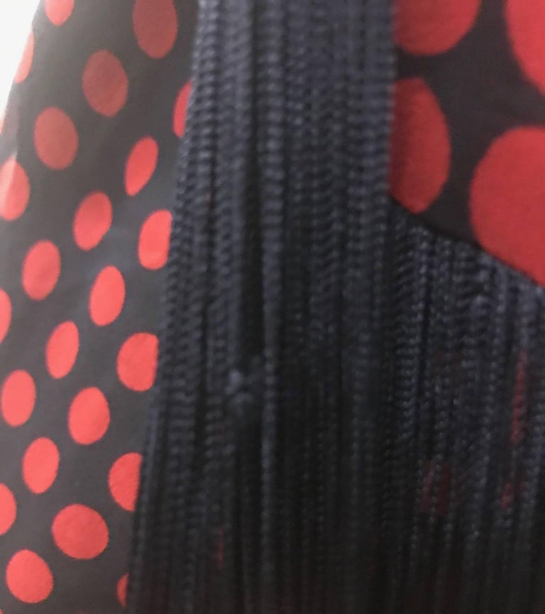 New 2007 Alexander McQueen Silk Polka Dot Fringed Scarf Halter Top Red and Black For Sale 3