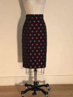 Patrick Kelly 1980s Black and Pink Polka Dot Pencil Skirt