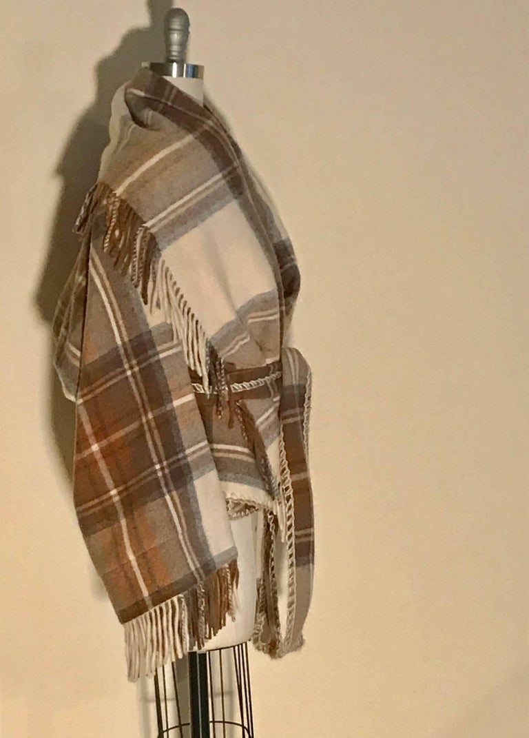 Alexander McQueen 2005 Runway Plaid Fringe Wool Wrap Jacket Coat  2
