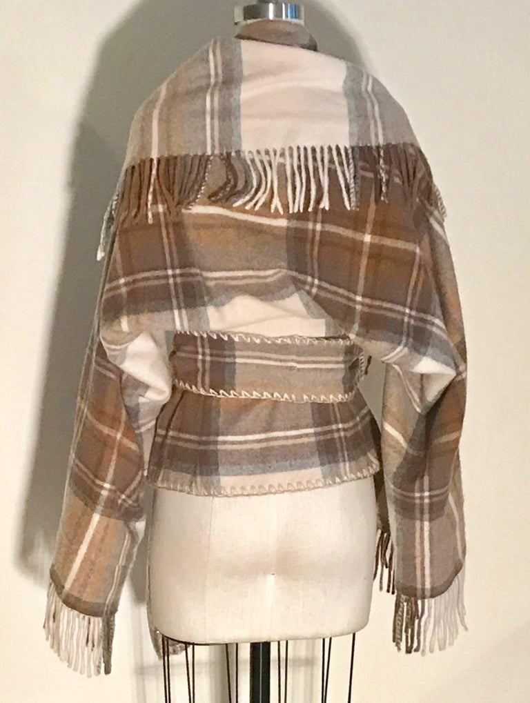 Brown Alexander McQueen 2005 Runway Plaid Fringe Wool Wrap Jacket Coat  For Sale