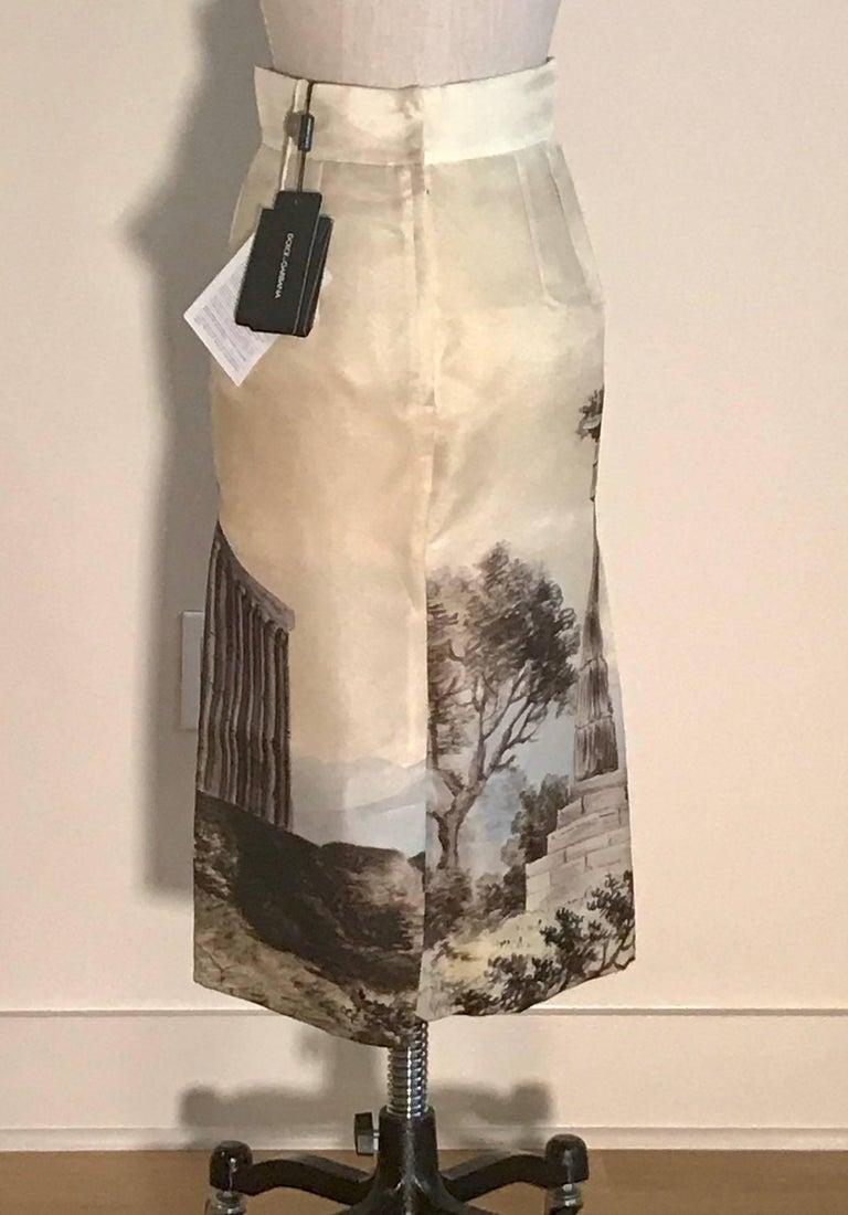 Dolce & Gabbana New Cream Silk Greek Ruins Temple Column Pencil Skirt, 2014 2