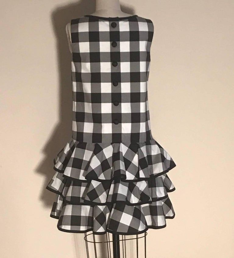 Dolce & Gabbana New with Tags Black and White Gingham Check Ruffle Bottom Dress 3