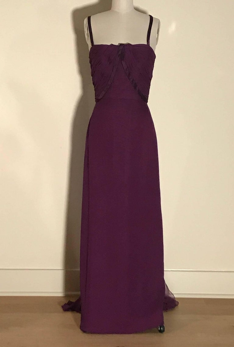 Malcom Starr vintage 1960s purple silk chiffon evening gown with two gorgeous floating scarf like panels at back. Ruching and pleating at bodice. Small bows at back straps. Back zip.   Size label removed, best fits a modern Small. See