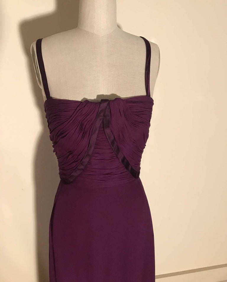 Black Malcom Starr 1960s Purple Silk Chiffon Evening Gown Dress For Sale