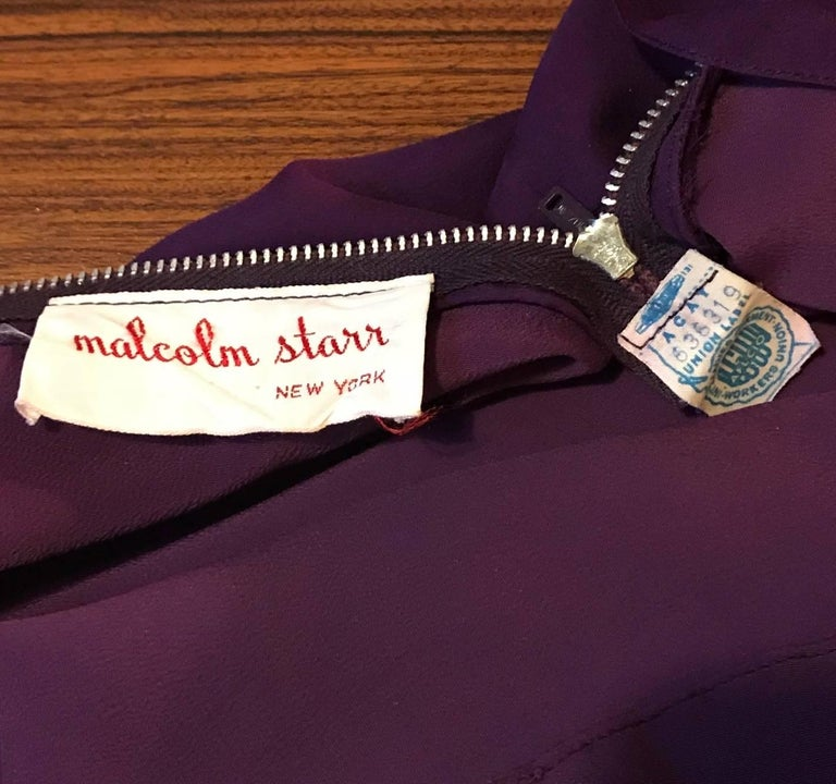 Malcom Starr 1960s Purple Silk Chiffon Evening Gown Dress In Good Condition For Sale In San Francisco, CA