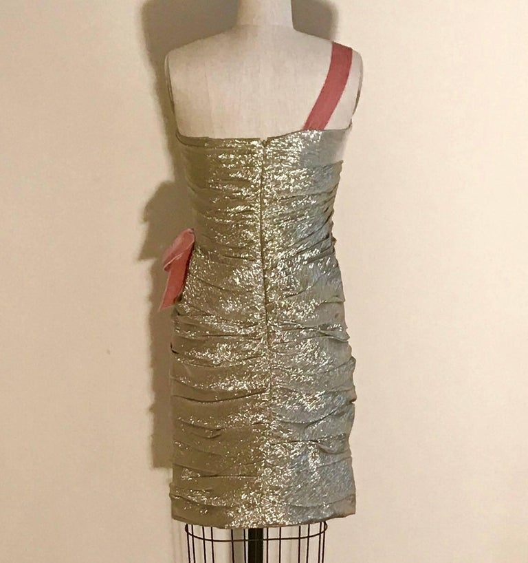 Brown Oscar de la Renta Light Gold One Shoulder Cocktail Dress with Pink Velvet Bow For Sale