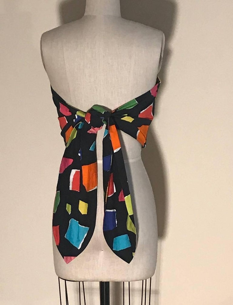 32ed07ca1b0 Moschino Couture Black and Multi Color Abstract Print Tie Back Tube Top  Bustier In New Condition