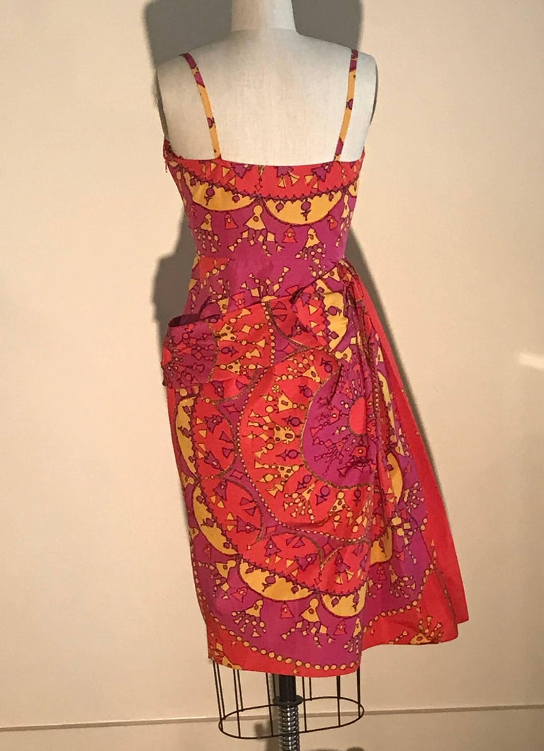 Christian Dior Pink and Yellow Draped Tassel and Chain Print Dress  In New Condition For Sale In San Francisco, CA