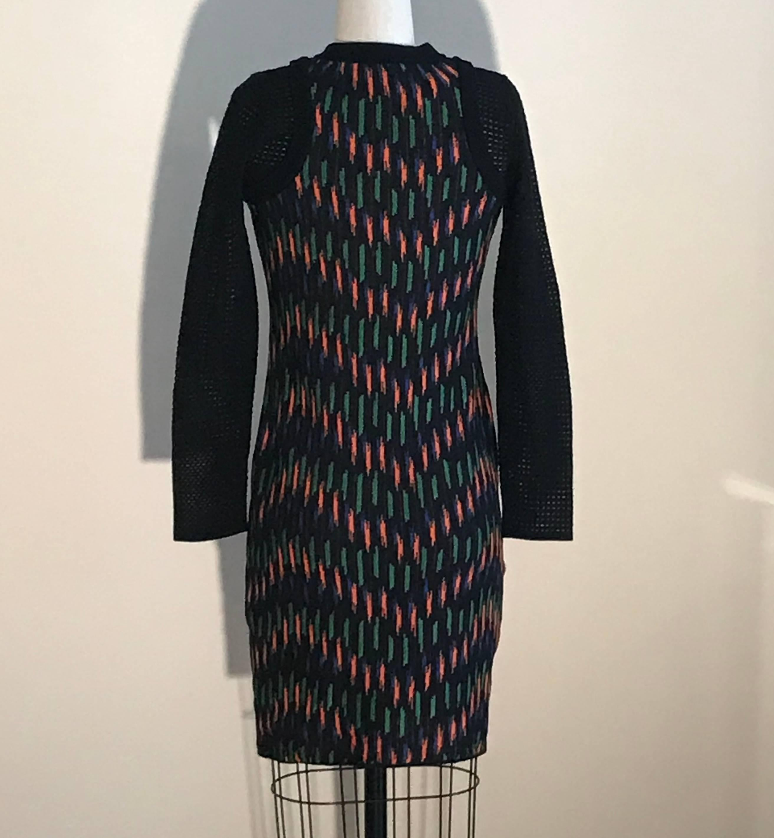 ca65fe7fadd New M Missoni Black Orange Blue Green Knit Sweater Dress with Mesh Knit  Sleeves For Sale at 1stdibs
