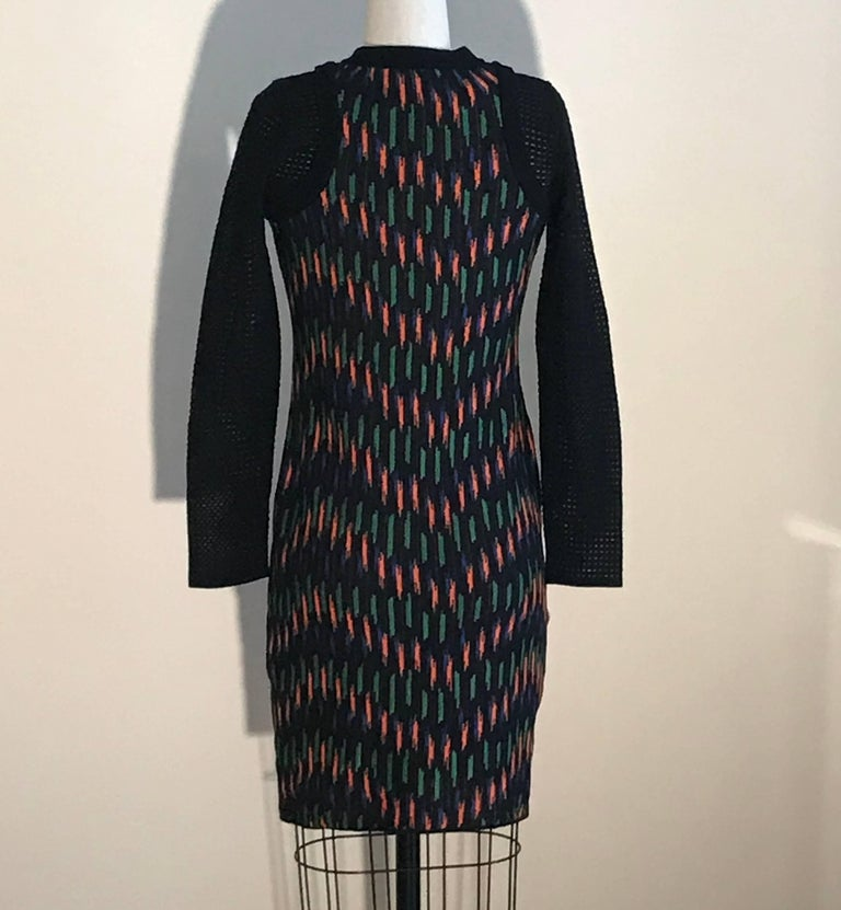New M Missoni Black Orange Blue Green Knit Sweater Dress With Mesh Sleeves In