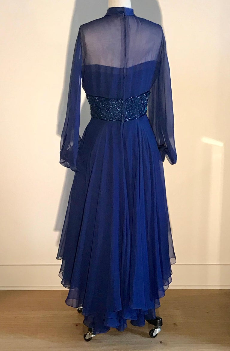 Travilla 1970s Blue Floaty Chiffon Beaded Evening Dress with Sheer Sleeves In Excellent Condition For Sale In San Francisco, CA