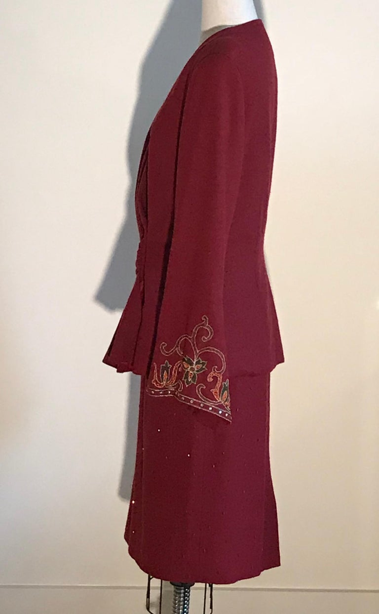 Pierre Balmain 1980s Cranberry Red Beaded Embroidered Sleeve Jacket Skirt Suit  In Fair Condition For Sale In San Francisco, CA