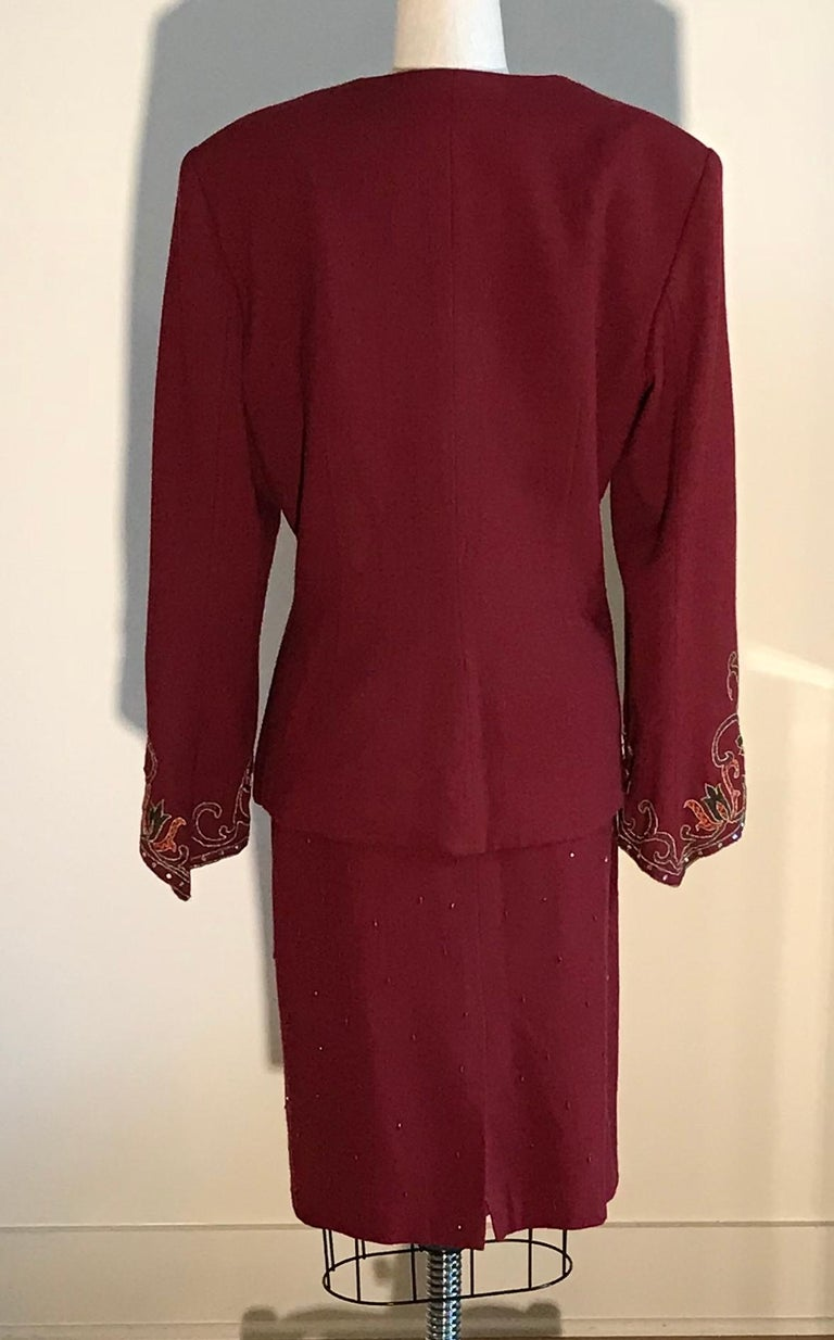 Women's Pierre Balmain 1980s Cranberry Red Beaded Embroidered Sleeve Jacket Skirt Suit  For Sale
