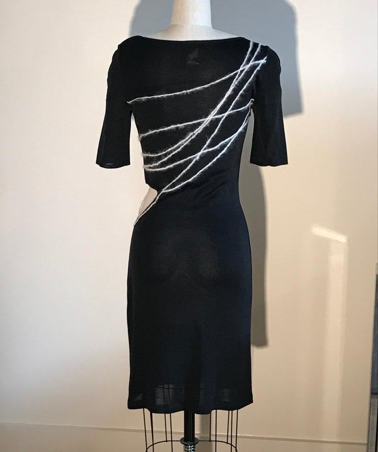Women's Gianni Versace Couture 1990s Black Knit Yarn Bodycon Dress with Cut Out at Waist For Sale