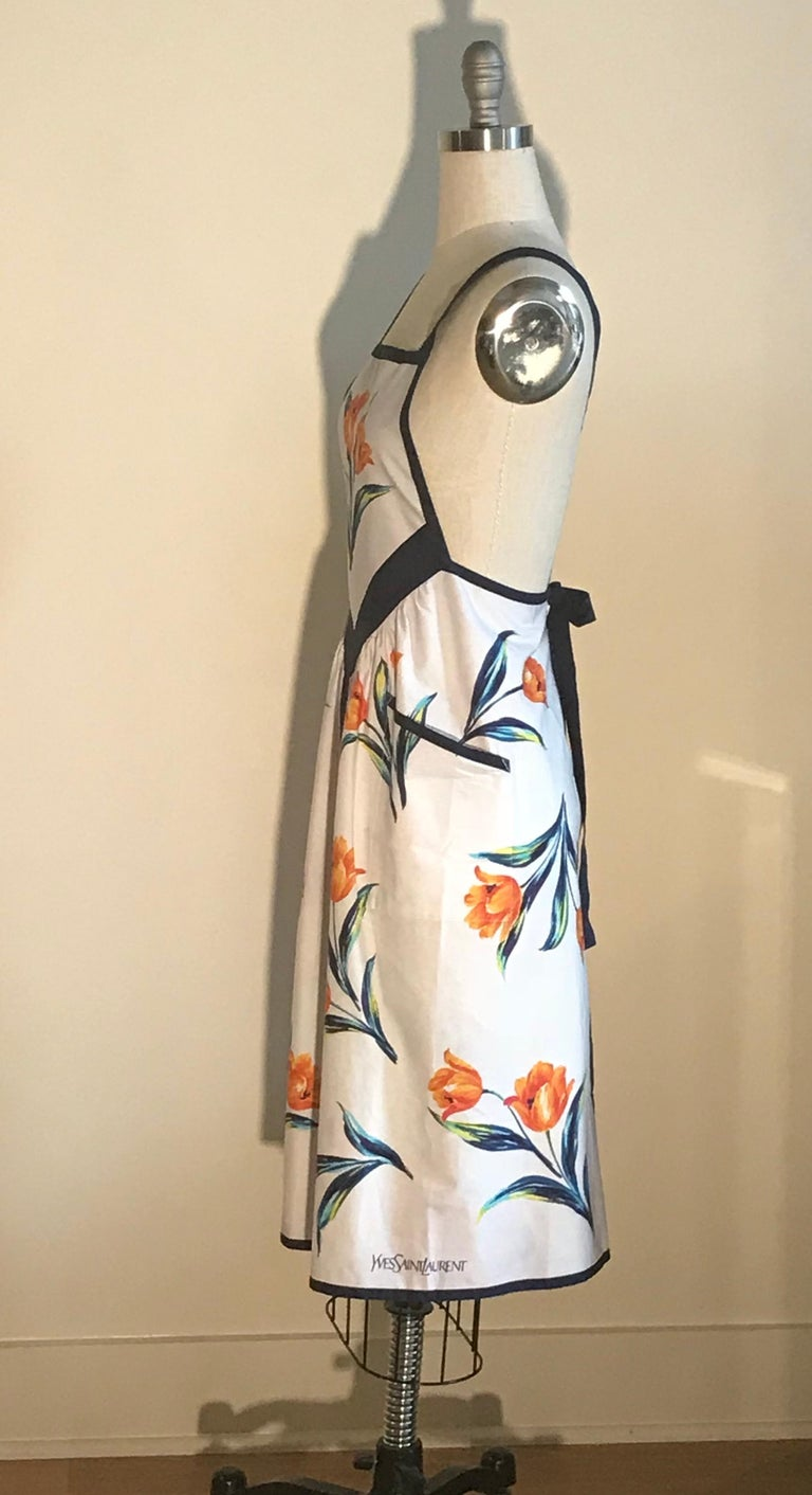 Gray Yves Saint Laurent YSL Vintage White Floral Dress Style Apron Orange and Blue For Sale