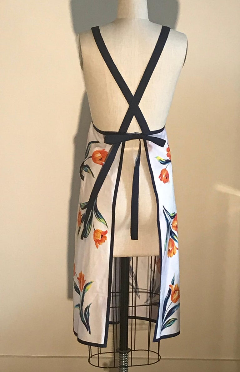 Yves Saint Laurent YSL Vintage White Floral Dress Style Apron Orange and Blue In Excellent Condition For Sale In San Francisco, CA