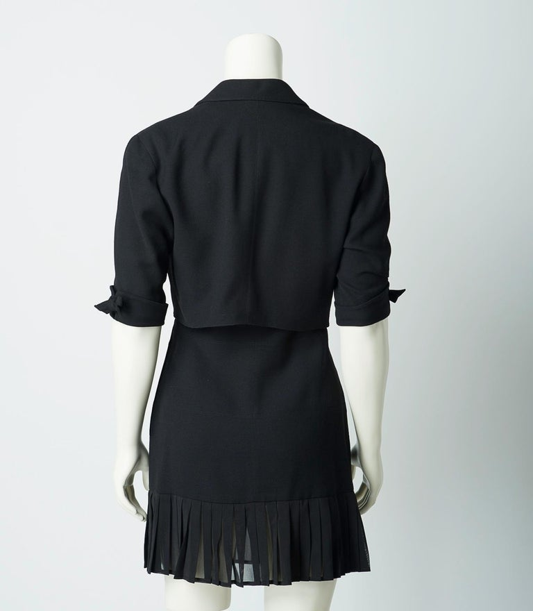 Women's Claude Montana 1980s Black Skirt Suit Mini Dress and Cropped Jacket For Sale
