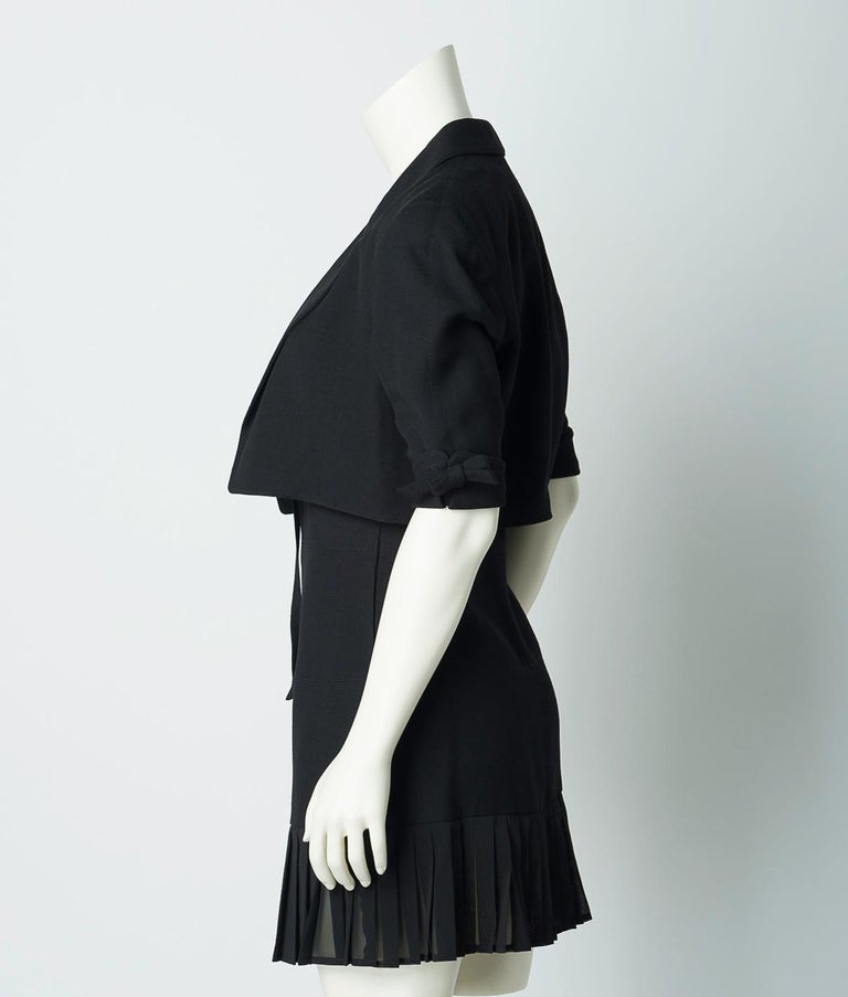 Claude Montana 1980s Black Skirt Suit Mini Dress and Cropped Jacket For Sale 1